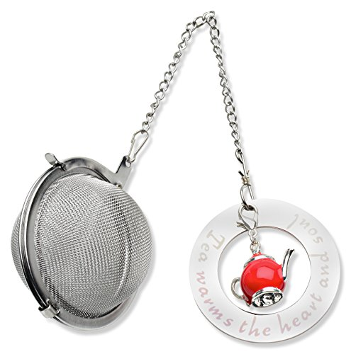 Best Tea Ball Infuser with Teapot Charm and Stainless Steel Disc -