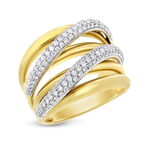 Diamond Wave Beads - 1.10 Ct. Natural Diamond Crossover Wave Curved Ring in Solid 18k Yellow Gold