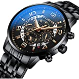 Classic Black Waterproof Watch Men's Sport Wrist Watches with Chronograph Feature