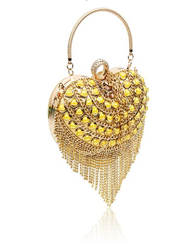 Gems Purse Hard cm Clutch Bag Bag Heart Wedding Women's Party Ladies Shape Crystal 19x20x7 Size Case Gold Studded Diamante Evening p6xEw7fq