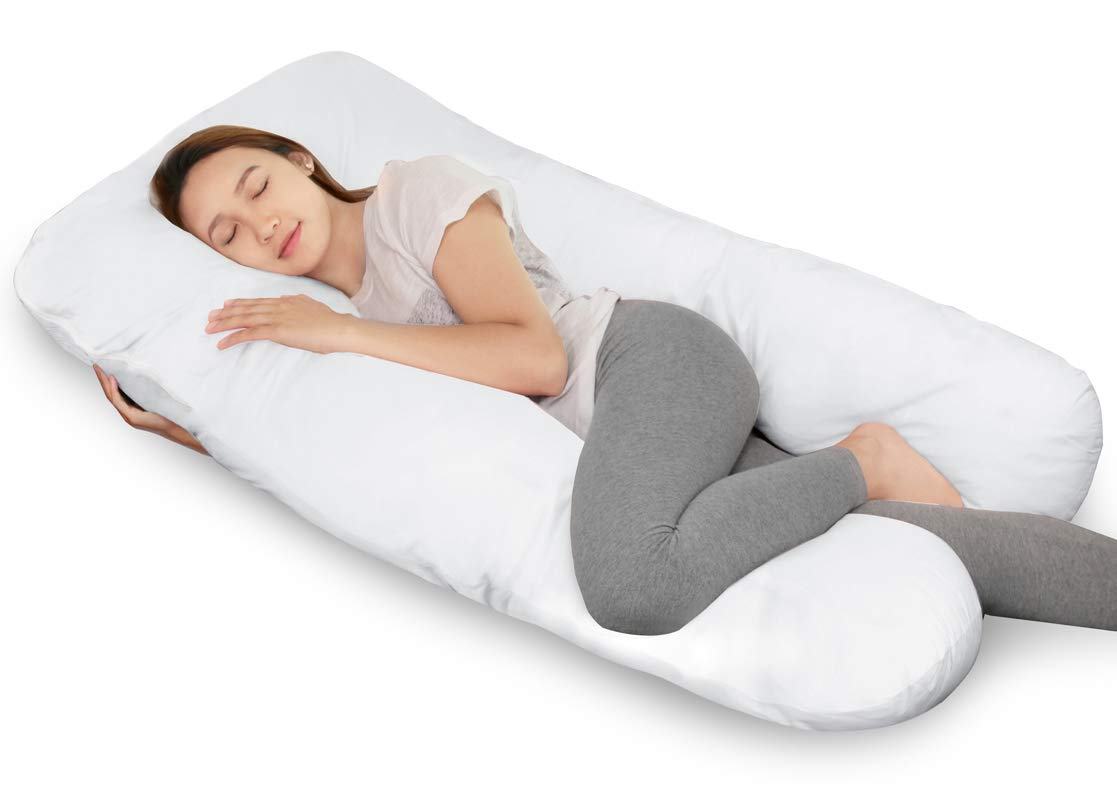 Full Body Pregnancy Pillow and Nursing Pillow with Removable Cover-U Shaped By QUEEN ROSE, Gray