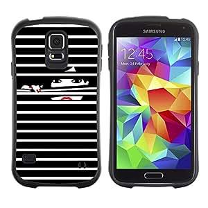 LASTONE PHONE CASE / Suave Silicona Caso Carcasa de Caucho Funda para Samsung Galaxy S5 SM-G900 / Nails Black White Lady