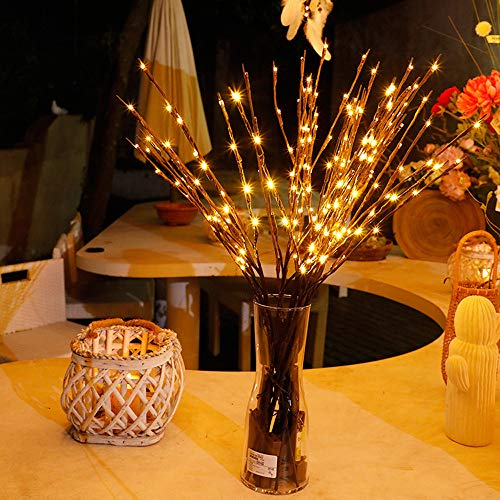 Christmas New Year LED Branch Lamp Floral Lights 20 Bulbs Home Christmas Party Willow Garden Decor Christmas Birthday Gift (Ship from USA) (Yellow)]()