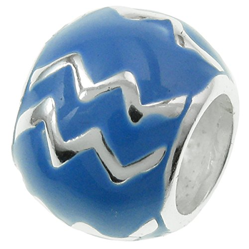 .925 Sterling Silver Round Zodiac Horoscope Aquarius Sign Symbol Birth Blue Enamel Bead For European Charm Bracelets