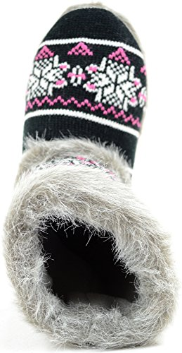Ladies / Womens Knitted Style Slipper Boot / Booties with Faux Fur Trim bUpHJBLf