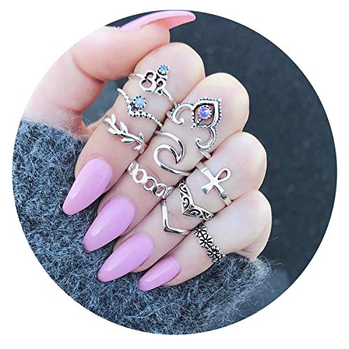 - FIBO STEEL 10 Pcs Vintage Knuckle Rings for Women Girls Stackable Midi Finger Ring Set