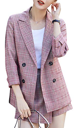 (Women's Plaid Double Breasted Casual Shorts Business Suit Offce Lady Casual Blazer&Skirt Pink)