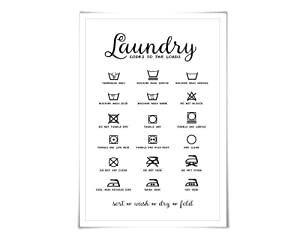 Laundry Symbols Laundry Room Art Poster. 60 Colours/3 Sizes. Laundry Procedures Rules Sign