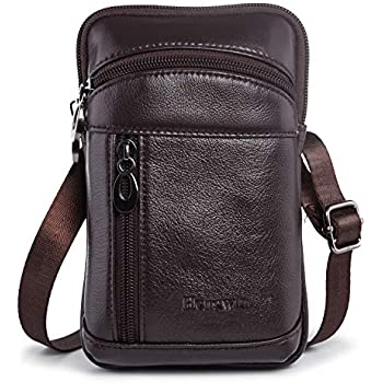 be87f5ad2 Hengwin Leather Crossbody Shoulder Bags Men Belt Clip Phone Holsters Case  Belt Loop Pouch Waist Bag Pack for iPhone Xs Max XS 8 7 Plus Galaxy Note 9  8 5 ...