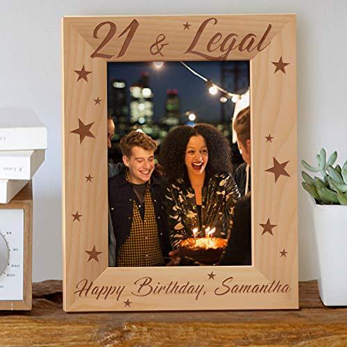 [해외]21 > 법적으로 맞춤화 된 목조 액자 5 인치 × 7 인치 브라운 (세로) / 21 & Legal Personalized Wooden Picture Frame 5 x 7 Brown (Vertical)