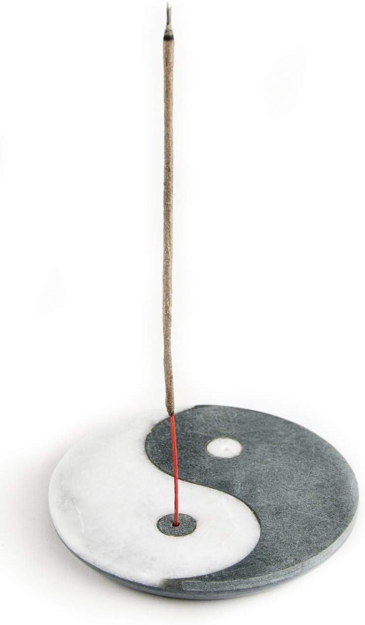 R/äucherst/äbchen Halter R/äuchern R/äucherzubeh/ör R/äucherteller Marmor wei/ß Speckstein grau R/äucherst/äbchenhalter Ying-Yang 10 cm