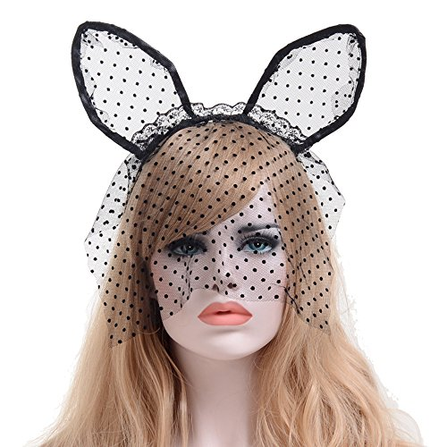 [Alled Lace Veil Bunny Ears Hairband Headband for Kids & Adults Fancy Dress Costume Halloween Christmas Party Cosplay (Lace Veil Cat Ears)] (Lace Bunny Ears Costume)