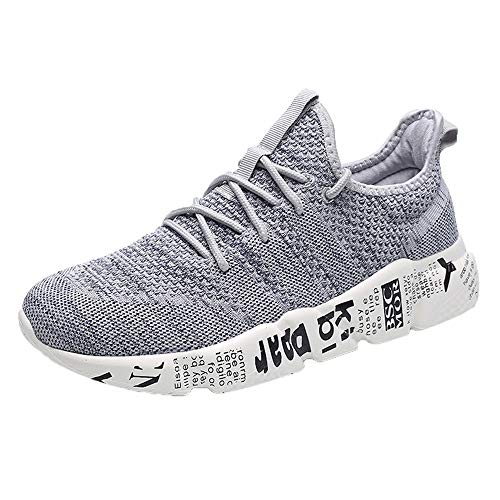 (refulgence Men Round Toe Mesh Sneakers Solid Cross Tied Anti Skidding Ventilation Running Exercise Shoes (Grey,US: 11))