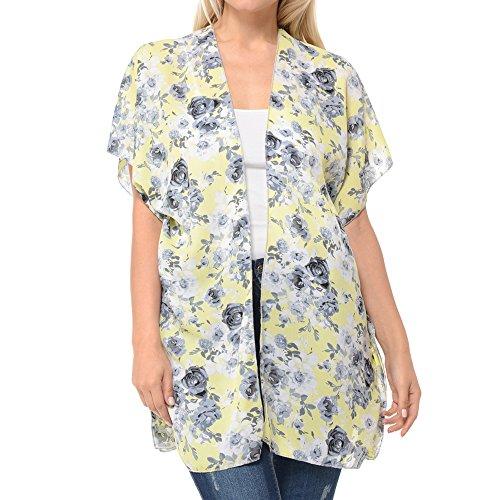 BASICO Women's Plus Size Open Asymmetrical Hem Chiffon Vest Cardigan Cover up (2 XL/3 XL, Cardigan # Yellow)