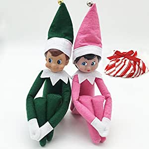 The Elf on the Shelf Plush Doll Toy Christmas 2PCS Boy & Girl Gren Pink Elives