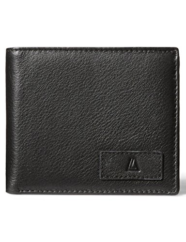 LEATHER ARCHITECT- Men's 100% Leather RFID Classic Tri-fold Wallet- Black/Grey
