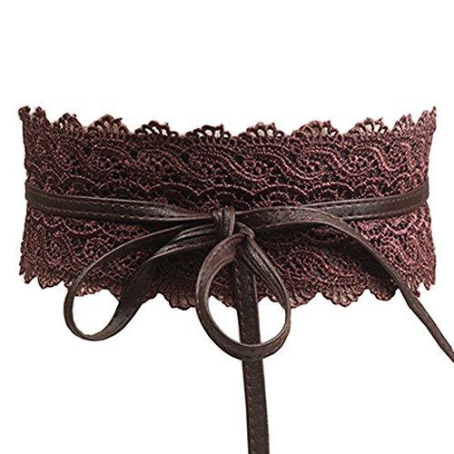 Women's Lace Waist Belt Bow Tie Wrap Around Soft Leather Boho Corset Fashion Elegant for Dresses ()