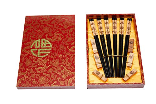 Chinese Wooden Hand Carved Chopsticks with Decorative Gift Box (Pack of 6) by Buddha Kitchenware