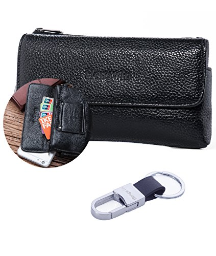 Horizontal Leather Case (iPhone 7 Plus iPhone 8 Plus Holster Case,iPhone 6s Plus iPhone 6 Belt Case,Horizontal Premium Leather Phone Holster Belt Clip Pouch Carrying Case Cover Sleeve for LG V20 Galaxy S8 Plus +Keyring-Black)