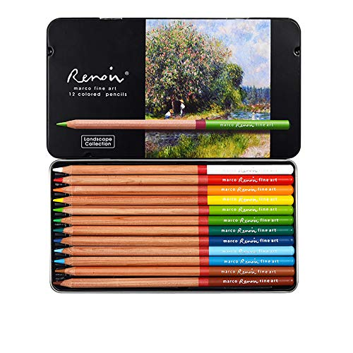 Professional Colored Pencils, Oil-Based, Water-Soluble, Fine Art Painting, Professional Hand-Painted (12Color Oily, Oily Landscape Theme Color)