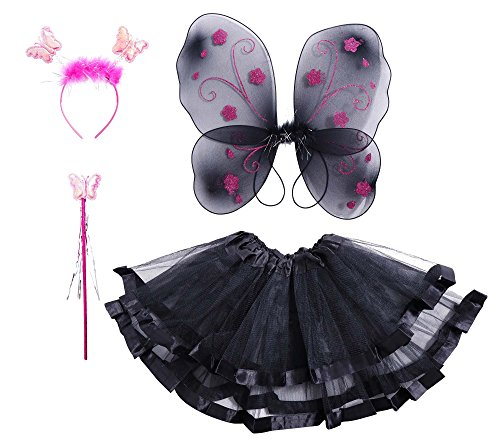 Black Butterfly Costumes (Girls' Butterfly Wings Wand Head Tutu Halloween Costume Set, Black & Pink for Party)