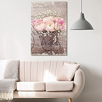 wall26 - Canvas Wall Art - Vintage Style Pink Roses and White Flowers - Giclee Print Gallery Wrap Modern Home Decor Ready to Hang - 12x18 inches