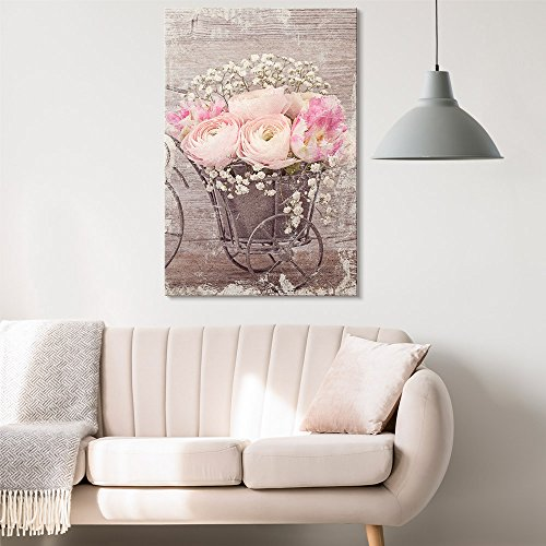 wall26 - Canvas Wall Art - Vintage Style Pink Roses and White Flowers - Giclee Print Gallery Wrap Modern Home Decor Ready to Hang - 12x18 ()