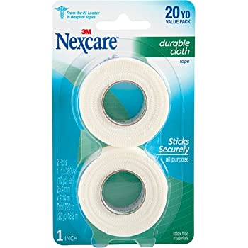 Nexcare Durapore Durable Cloth Tape, Hypoallergenic, Latex-free, Breathable, Useful for Post-Surgical Gauze and Dressing, Water-Resistant, Easy to Hand-Tear, 1-Inch X 10-Yards, 2 Rolls