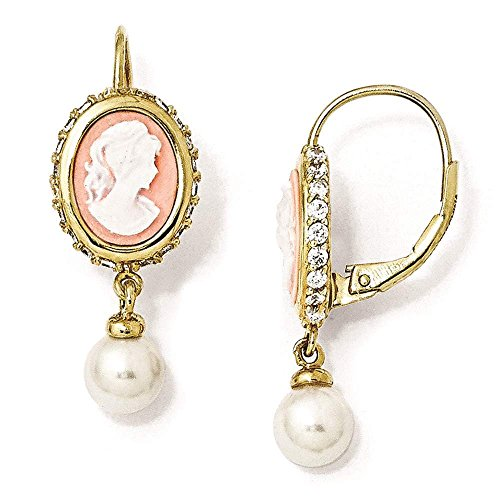Cheryl M - Sterling Silver Gold Plated CZ & Freshwater Cultured Pearl Cameo Earrings