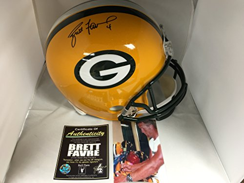 Brett Favre Signed Autographed Packers Full Size Helmet Favre COA & Player (Autographed Nfl Replica Helmet)