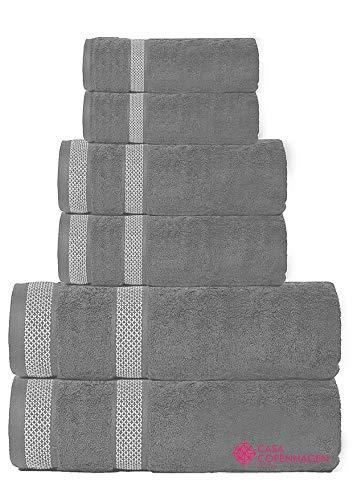 CASA COPENHAGEN Solitaire Luxury Hotel & Spa Quality, 600 GSM Egyptian Cotton, 6 Piece Turkish Towel Set, Includes 2 Bath Towels, 2 Hand Towels, 2 Washcloths, Pinstripe Grey (Or Egyptian Cotton Turkish)