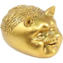 "We pay your sales tax 金猪 Feng Shui 3"" Gold Legless Pig Head Figurine Home Decor Housewarming Gift Gold Pig G16267"