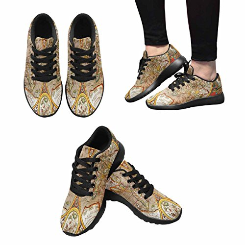 Interestprint Femmes Jogging Running Sneaker Léger Aller Facile À Pied Casual Confort Chaussures De Course 17ème Siècle Carte Du Monde Macro Closeup Multi 1