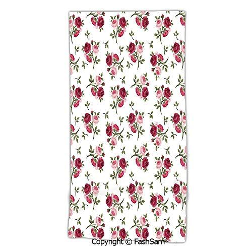 (Microfiber Bath Beach Towel Pattern with Rose Stems Flowers Garden Classic English Style Design Repeat Art Decorative washcloths for Men Women(w20xL39))