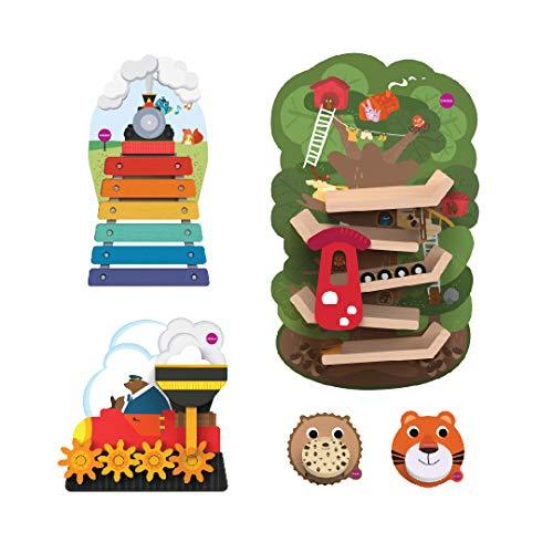 - ORIBEL VertiPlay Action Combo (Tree Top Adventure, Xylophone, Round and Round Goes Mr Bear, Spikkey and Roarry Door Knocker)