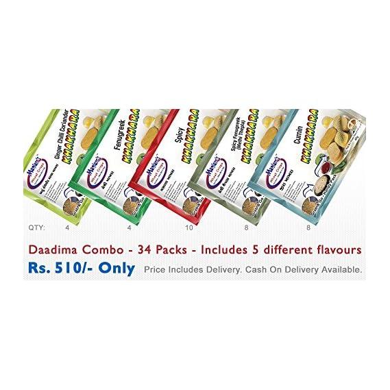 Maniarrs Khakhra Daadima Combo (34 Pack, 5 Flavors, 1.5 kg)