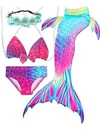 3PCS Girls' Swimsuit Mermaid Tail for Swimming Tropical Bikini Halloween Christmas Gift Masquerade Pool Party