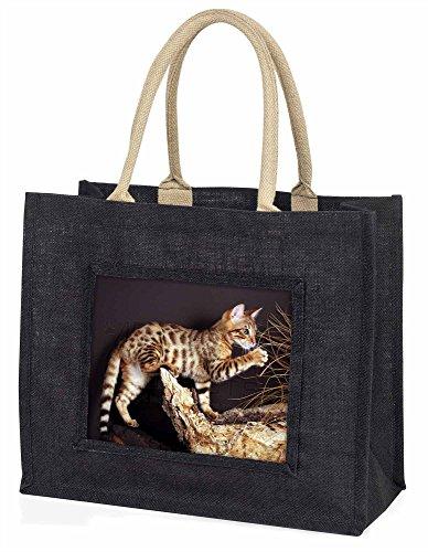 Advanta A Gorgeous Bengal Kitten Große Einkaufstasche/Weihnachtsgeschenk, Jute, schwarz, 42x 34,5x 2cm
