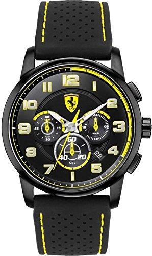 Ferrari Heritage Chronograph Black and Yellow Dial Black Silicone Mens Watch - Yellow Black Ferrari And