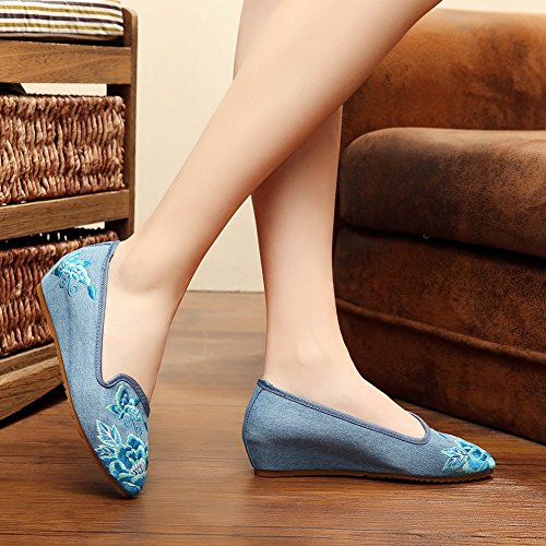 Scarpe Da Donna Piatte Oxford Scarpe Con Suola In Gomma Scarpe Da Passeggio Casual Blu Denim