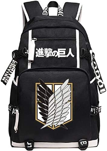 YOYOSHome Anime Attack on Titan Cosplay Rucksack Daypack Bookbag Laptop Rucksack Schultasche mit USB-Ladeanschluss