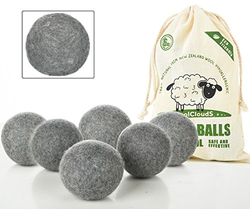 Dryer Balls Laundry, Wool Dryer Balls - Premium Quality - 100% Organic New Zealand Natural Fabric Softener - Reduce Wrinkles, Static Cling, Hypoallergenic, Chemical Free, Non-Toxic Reusable(Grey) -