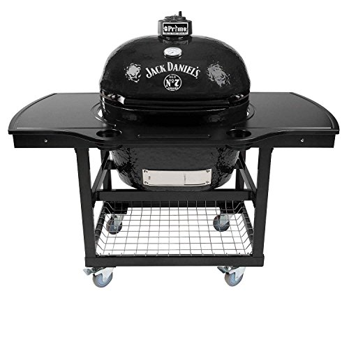Primo Oval XL 400 Ceramic Smoker Grill Jack Daniel's Edition On Cart with 1-Piece Island Top by Primo
