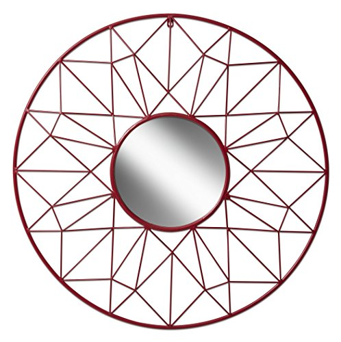 Renata Geometric Round Metal Accent Mirror with 31.5 inch Diameter, - Round Red Mirror