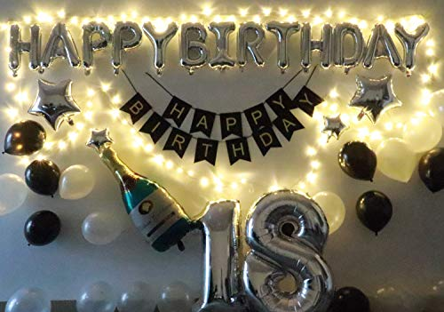 18th Birthday Party Decorations Kit 18th Black and Silver Birthday Party Decorations - Led Birthday String Lights, Sliver 18 Foil Balloon, Happy Birthday Banner, Star, Black & White Latex Balloons