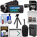 Sony Handycam HDR-CX440 8GB Wi-Fi 1080p HD Video Camera Camcorder 32GB Card + Case + Battery & Charger + Flex Tripod + Kit