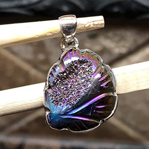 Natural Rainbow Titanium Druzy 925 Solid Sterling Silver Pendant 27mm ()