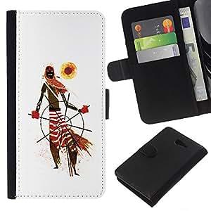 EJOY---La carpeta del tirón la caja de cuero de alta calidad de la PU Caso protector / Sony Xperia M2 / --Modelo tribal africana Hombre Arte Bufanda Sun