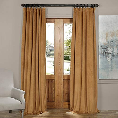 - IYUEGO Pinch Pleat Solid Velvet Lining 90% Blackout Curtain Thermal Insulated Patio Door Curtain Panel Drape for Traverse Rod and Track, Amber Gold 150W x 102L Inch (Set of 1 Panel)