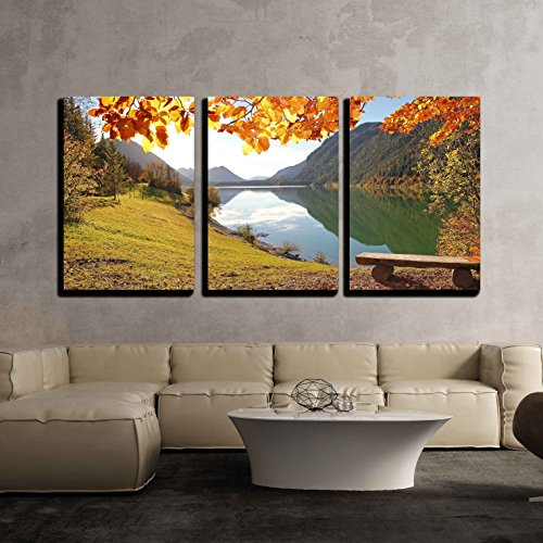Panoramic View to Idyllic Autumnal Lake Sylvenstein Germany x3 Panels